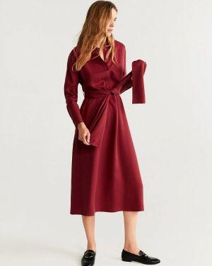 Платье бордовый платье-рубашка Mango