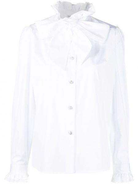 Biała koszula bawełniana z długimi rękawami Alessandra Rich