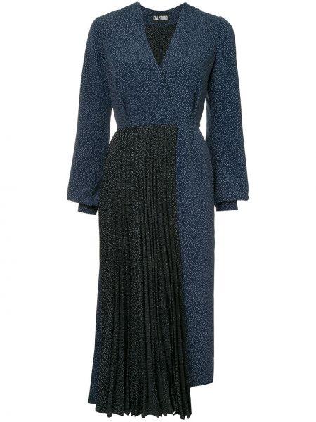 Темно-синее комбинированное платье макси на молнии Dalood