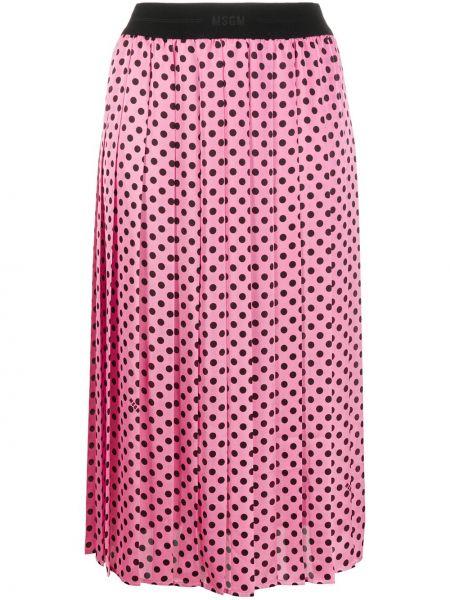 Розовая плиссированная юбка миди в горошек Msgm