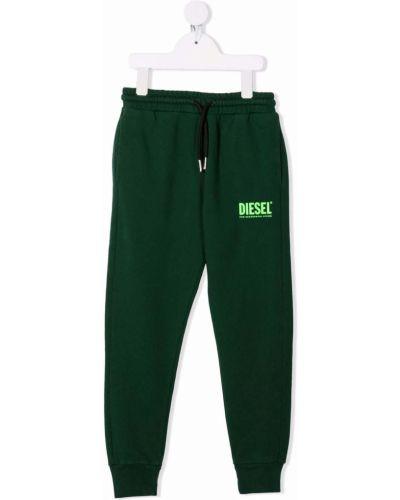 Zielony dres z wysokim stanem bawełniany Diesel Kids