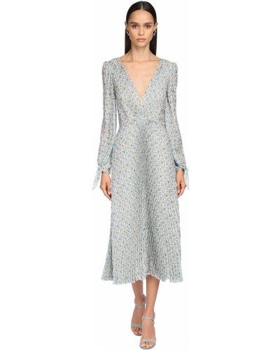 Бежевое платье миди с длинными рукавами с декольте Luisa Beccaria