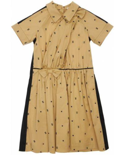 Коричневое с рукавами платье с бантом Burberry