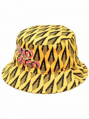 Żółty kapelusz bawełniany z printem Paco Rabanne