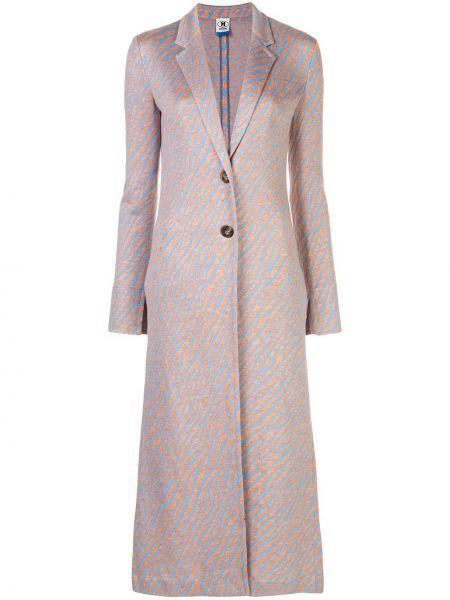 Однобортное синее длинное пальто с капюшоном M Missoni