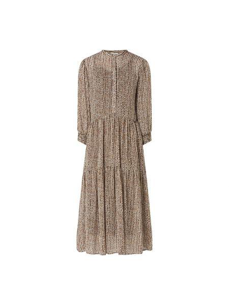 Brązowa sukienka mini rozkloszowana z wiskozy Levete Room