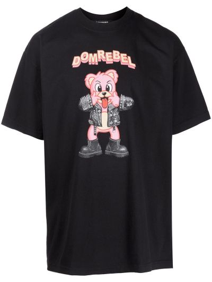 Czarna t-shirt bawełniana Domrebel