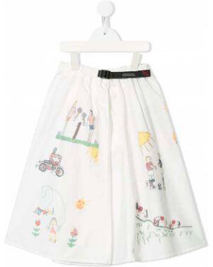 Хлопковая расклешенная белая джинсовая юбка с поясом Denim Dungaree