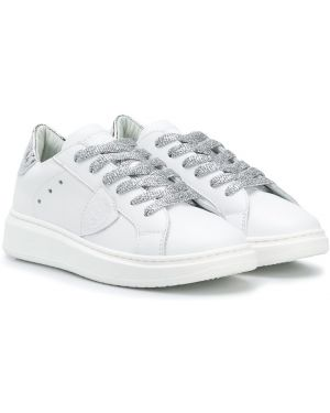 Skórzane sneakersy z logo białe Philippe Model Kids