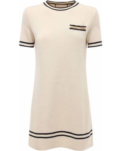 Шерстяное платье мини - бежевое Gucci