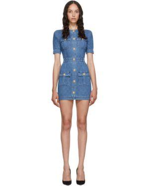 Джинсовое платье мини с поясом Balmain