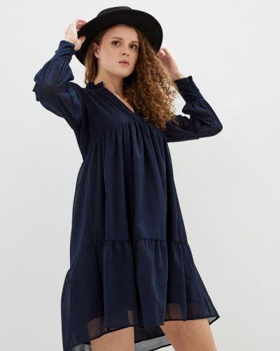 Прямое синее платье Naf Naf