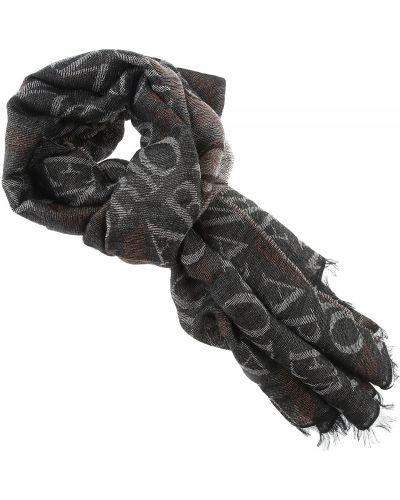 Szary szalik z wiskozy z frędzlami Emporio Armani