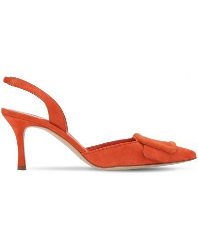 Туфли на каблуке кожаные замшевые Manolo Blahnik