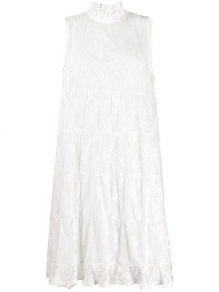Белое ажурное платье без рукавов с высоким воротником See By Chloé