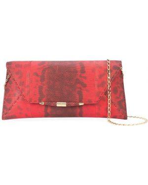 Кожаная золотистая красная кожаная сумка с подкладкой Tyler Ellis