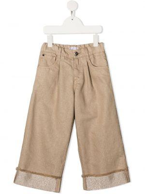 Bawełna bawełna z wysokim stanem jeansy na wysokości z kieszeniami Brunello Cucinelli Kids