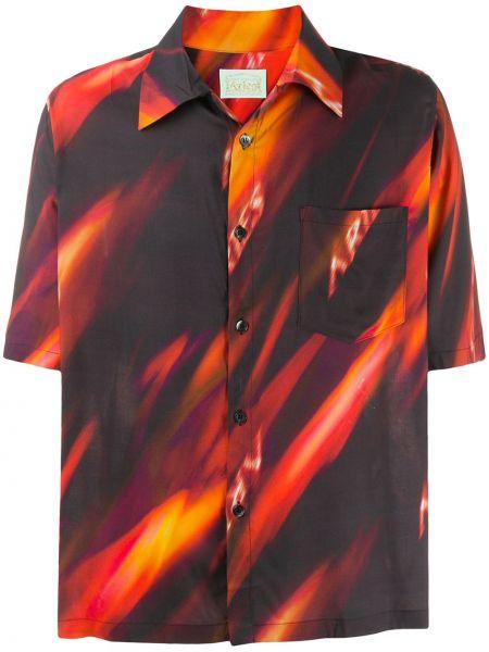 Koszula krótkie z krótkim rękawem klasyczna z hawajskim drukiem Aries