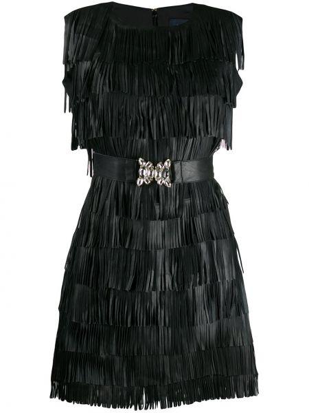 Платье мини с вырезом - черное Cavalli Class