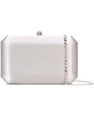 Серебряная шелковая сумка на цепочке с карманами Tyler Ellis