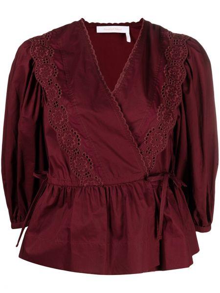 С рукавами красная блузка с вышивкой See By Chloé