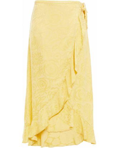Сатиновая юбка миди - желтая SamsØe Φ SamsØe