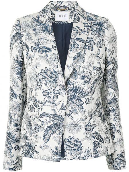 Однобортный белый удлиненный пиджак на пуговицах Erdem
