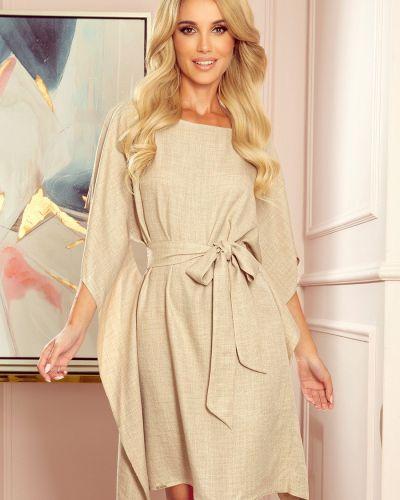 Beżowa sukienka z paskiem materiałowa Numoco