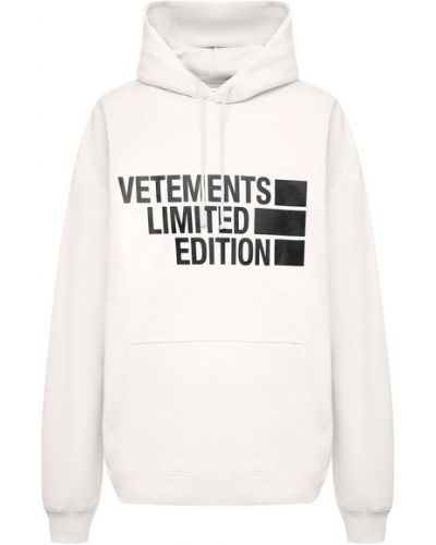 Хлопковая белая толстовка Vetements