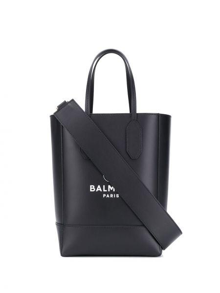 Skórzana torebka na ramię mini Balmain