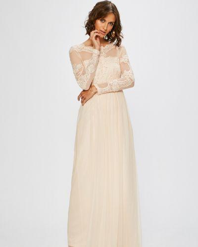 Платье макси с вышивкой однотонное Vila