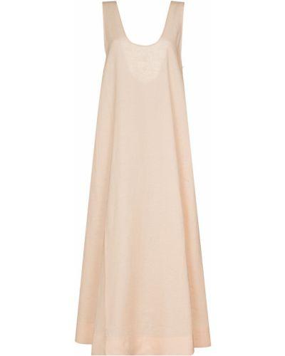 Льняное розовое платье без рукавов Asceno