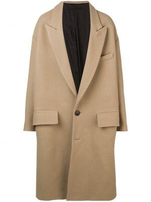 Шерстяное длинное пальто с воротником на пуговицах оверсайз Ami Paris