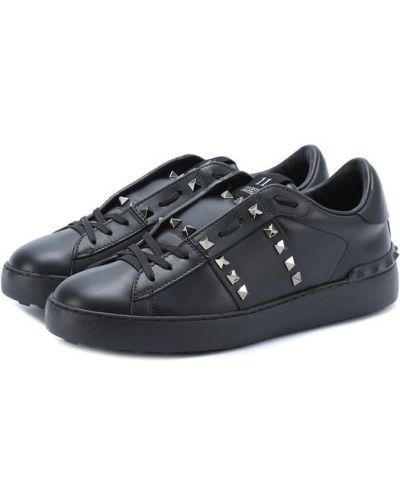Черные кожаные кеды Valentino