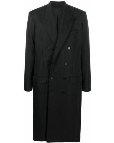 Czarny płaszcz dwurzędowy zapinane na guziki z długimi rękawami Balenciaga