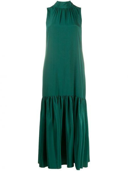 Ватное хлопковое зеленое платье без рукавов Tibi
