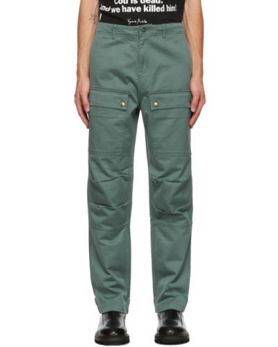 Синие прямые брюки стрейч с манжетами на пуговицах Vyner Articles