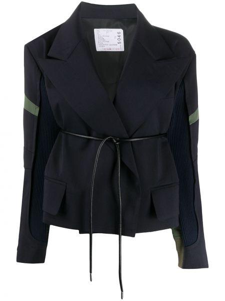 Синий кожаный удлиненный пиджак свободного кроя Sacai
