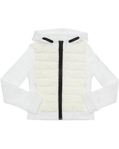 Nylon biały bawełna kurtka z kapturem Moncler