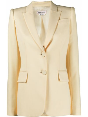 Желтый однобортный удлиненный пиджак с карманами Alexander Mcqueen