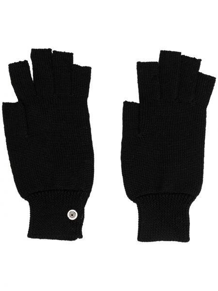 Prążkowane czarne rękawiczki bez palców wełniane Rick Owens