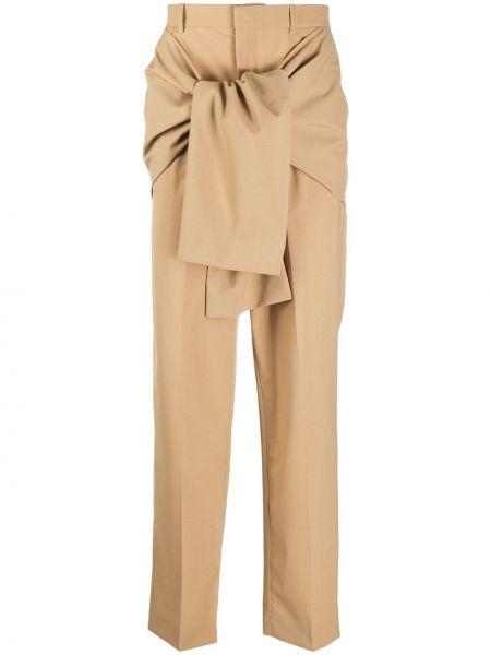 Шерстяные коричневые прямые брюки с завязками Cmmn Swdn