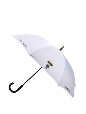 Wodoodporny biały automatyczny parasol Karl Lagerfeld