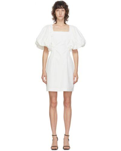Biały bawełna sukienka mini z kołnierzem plac Edit