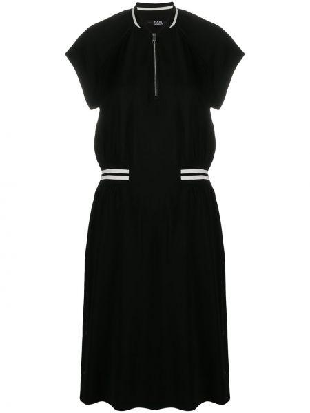 С рукавами черное платье с поясом Karl Lagerfeld