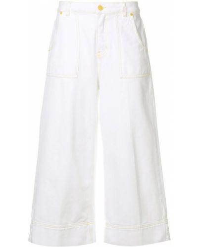 Широкие джинсы с завышенной талией - белые Gaelle Bonheur