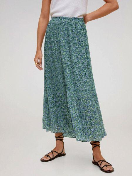 Плиссированная юбка бирюзовый весенняя Mango
