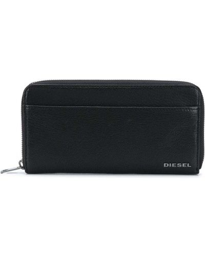 Кожаный черный кошелек на молнии с карманами Diesel