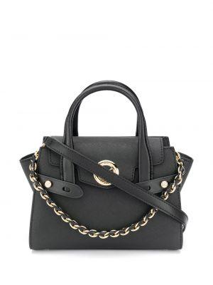 Черная сумка на цепочке круглая с карманами из натуральной кожи Michael Michael Kors
