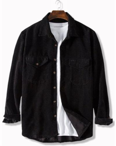 Черная рубашка вельветовая с карманами Zaful